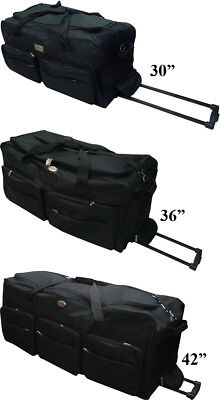 "30""/36""/42"" Black Rolling Wheeled Tote Duffel Bag Luggage Travel Duffel Suitcase"