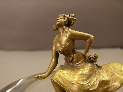 Antique French Art Nouveau Bronze Semi-Nude Woman Mounted on Thick Glass Bowl