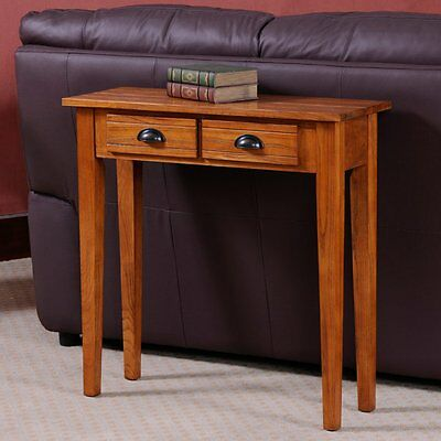 Leick Home Bin Pull Oak Two Drawer Console Table