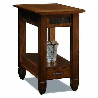 Leick Home 10906 Slatestone Rustic Chairside Table, Oak, 24.5 inches