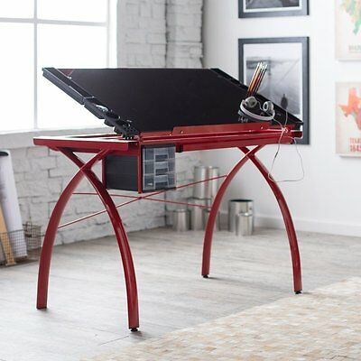 Studio Designs Red Futura Glass Top Drafting Station, Red