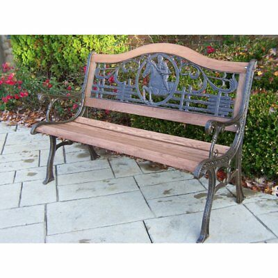 Oakland Living Horse Cast Iron and Wood Bench in Finish, Antique Bronze, 50L x