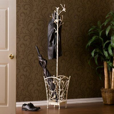 Bird and Branch Antique White Coat Rack, White