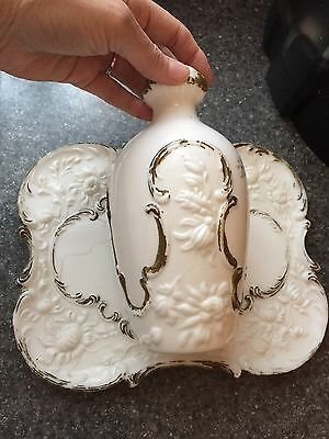Antique (1890s) Dithridge Milk Glass Vanity Tray & Matching Lg Vase Gold Accents