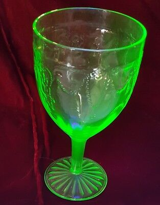 Green Depression Glass Cameo Ballerina Goblet 1930's  Dancing Girl