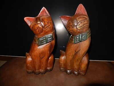 Hand Carved Wooden Cats Set Of Two
