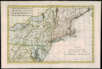 1780 Antique Map MIDWEST AMERICA Michigan Minnesota NEW YORK Rhode by Bonne (8)