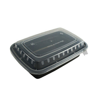 150 Food Containers with Lids (16 oz) BPA Free, Microwave/Dishwasher Safe, Black