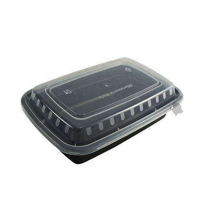 50 Food Containers with lid (32 oz) BPA Free, Microwave/Dishwasher Safe, Black
