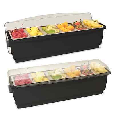Ice Cooled Roll Top Condiment Holder BLACK with Clear Lid with 6 Pint inserts