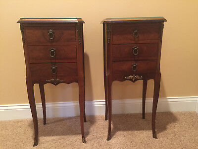 Antique Pair of French Provincial 3 Drawer Bed Side Night Stands, Brass Accents