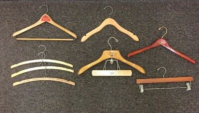 Advertising Wooden Clothes Hangers Coat Pants  Lot of 8 Vintage