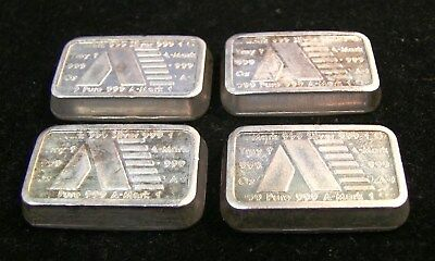 Lot of 20 Amark 1981 Chunky 1 oz .999 Silver Bars  -   20 oz total