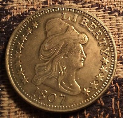 "1807 fantasy fake big Gold coin LADY LIBERTY BUST Eagle 1 1/4"" diameter"