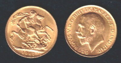 Australia Gold Sovereign STUNNING UNC PRE WW-2  1927 SOUTH AFRICA--KING GEORGE 5