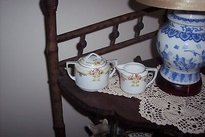 Vintage ~ Nippon Creamer and Sugar Bowl ~ Gold Trim ~ Hand Painted