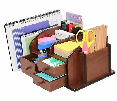PAG Office Supplies Wood Desk Organizer Pen Mail Holder Accessories Storage C...
