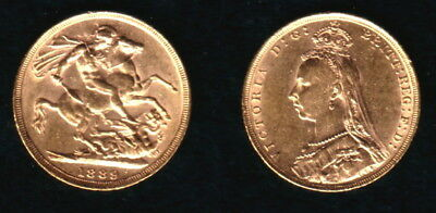 1889 Melbourne Jubilee Head Queen Victoria Sovereign--A Lustrous Old--High Grade