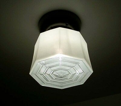 684 Vintage Ceiling Light  aRT Deco Lamp Fixture Glass shade bath hall porch
