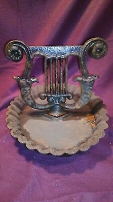 Vintage Cast Iron  Shoe Boot Scraper Victorian Lyre Harp Fancy Mud Pan