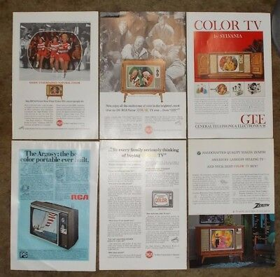 COLOR TV Magazine ADS 1960's RCA Zenith & Sylvania Lot of 6 ADS Cast of Bonanza