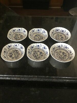 "(4) Johnson Brothers Blue Nordic Soup Bowls (2) Classic D&g Meakin 6.5"" England"