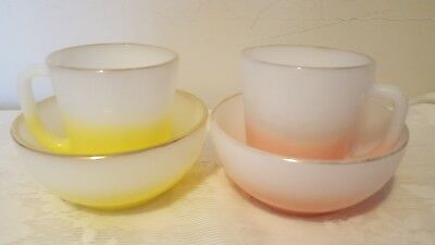 2 Fire King  Pink/White Yellow/White Sets of Cups, Bowls.  LOOK NICE