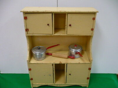 VINTAGE 1950`s TOY PLAY KITCHEN WOOD HUTCH CABINET 21""