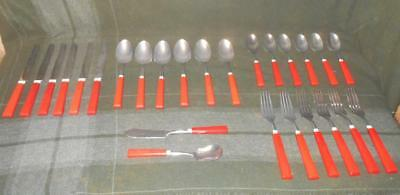 Lot 26 SERVICE FOR 6 Vintage Cherry Red Sta-Brite Flatware S-B Bakelite Handle