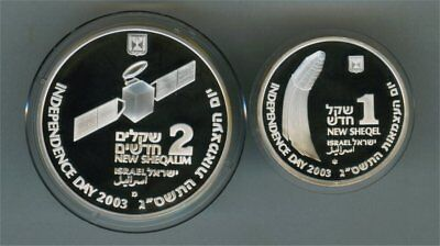 """2003 Sterling Silver """"israel And Space Exploration"""" 2 Coin Set In Choice Proof"""