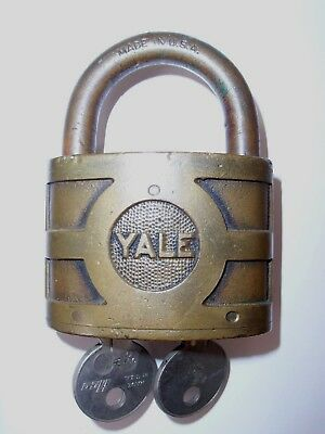 Antique Yale Bicentric Brass Padlock With Keys   Vintage Yale Dual Cylinder Lock