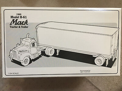 First Gear 1960 Model B-61 Humble Mack Tractor & Trailer, Die Cast Metal