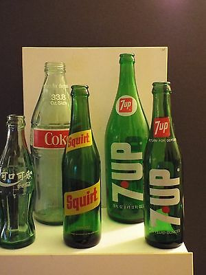 vintage lot of 5 pop bottles-7up 10-28 oz, Coke 33.8,Coca-Cola-china 6.5-Squirt