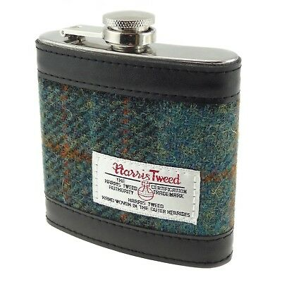 100% Harris Tweed Green Check 6 oz Stainless Steel Hip Flask New - HF2100 COL 17