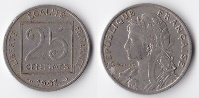 1903 France 25 centimes coin