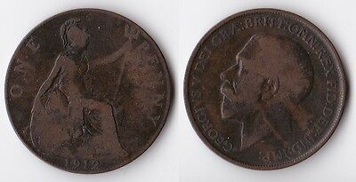 1912 Great Britain 1 penny coin