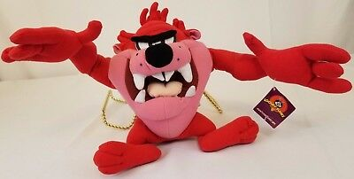 Tasmanian Devil Looney Tunes Posable Red Plush by Nanco With Tags Free Shipping