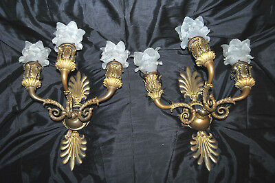 RARE Antique French Brass Bronze Sconces Pair Petal Shades Wall Lamps FOR REPAIR