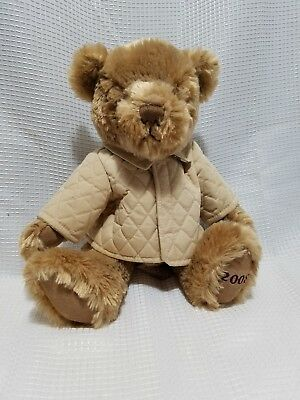 BURBERRY Fragrance 2008 Plush Teddy Bear Tan Jacket Trench Coat Nova Check Trim
