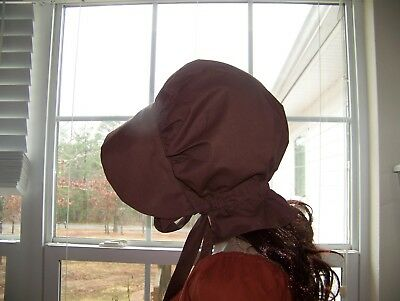 LADIES WOMENS BONNET COSTUME,THEATER,CIVIL WAR 100% COTTON #1101 dark brown