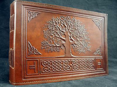 A5 Handmade Leather Journal Sketchbook - Druid OAK TREE - Wicca Book of Shadows