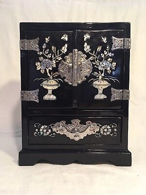 Antique Asian Black Urushi Lacquer Jewelry Box