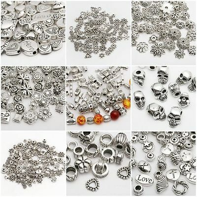 Lot Mix Tibetan Silver Bead Spacer Jewelry Making Findings-DIY European Bracelet