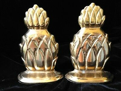 "Pair of Nice Vintage 6"" SOLID Brass Pineapple HOSPITALITY Bookends--Book Ends"