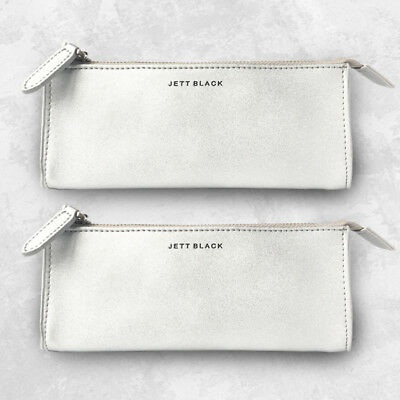2 Pack Metallic Silver Leather Pencil Case