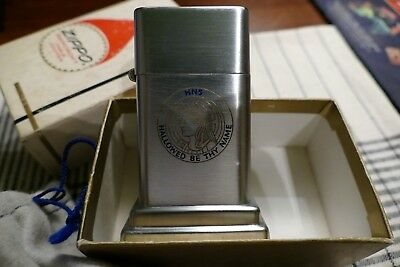 Vintage Zippo Barcroft Hns Hallowed Be Thy Name Table Lighter