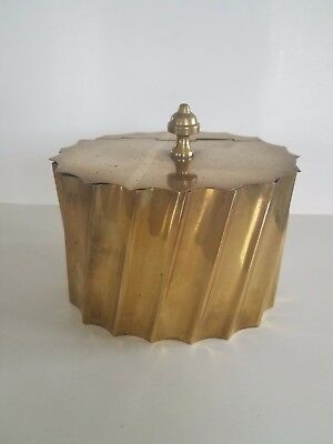 Antique English Solid Brass Swirl Pattern Tea Canister Excellent Condition