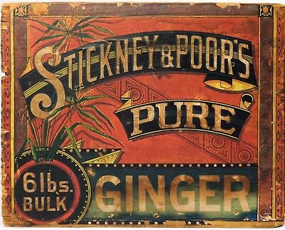 Vintage Early Stickney & Poor's Pure Ginger Wooden Box Crate, W/orig Paper Label