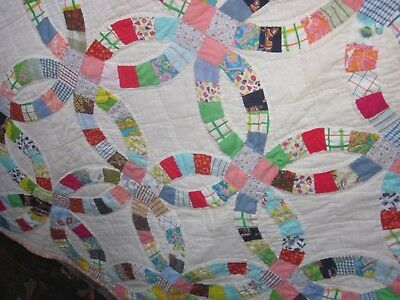 Charming,happy Double Wedding Ring antique quilt C.30s, brights,all by hand,S.C.