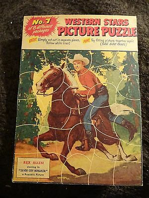 1955 Quaker Puffed Wheat Or Rice Puzzle Full Back Panel #7 Rex Allen